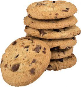 Stapeltje koekjes met chocolade snippers